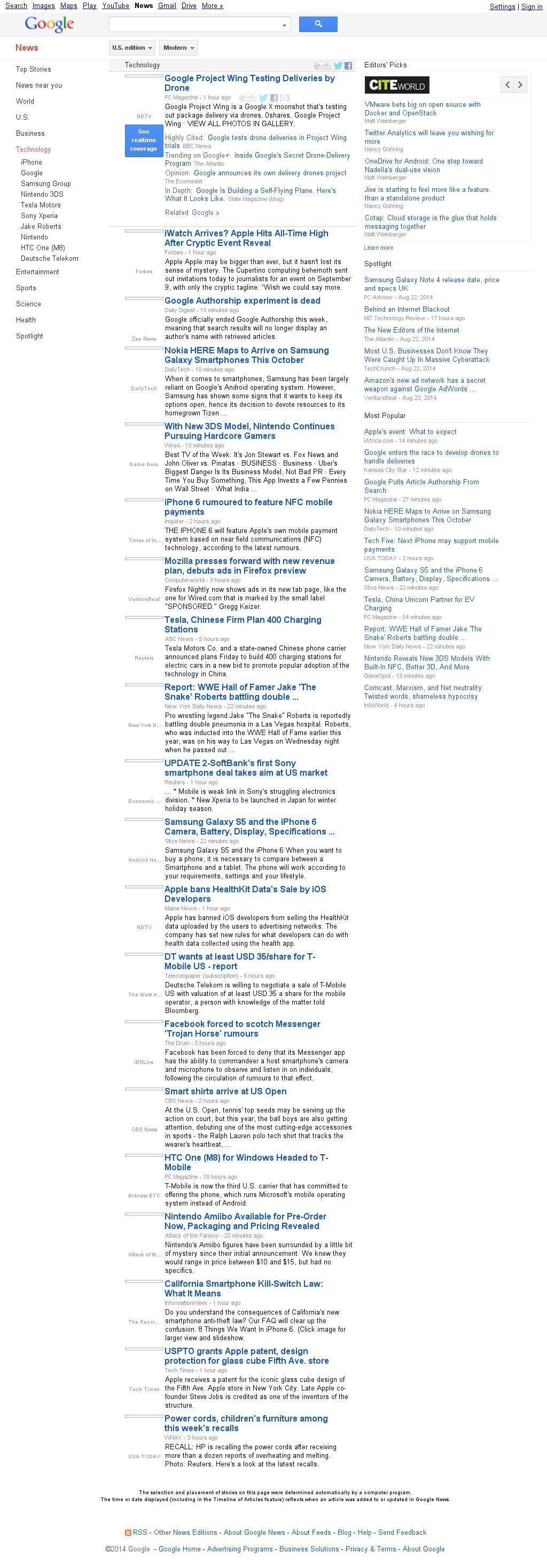 Google News: Technology at Friday Aug. 29, 2014, 3:06 p.m. UTC