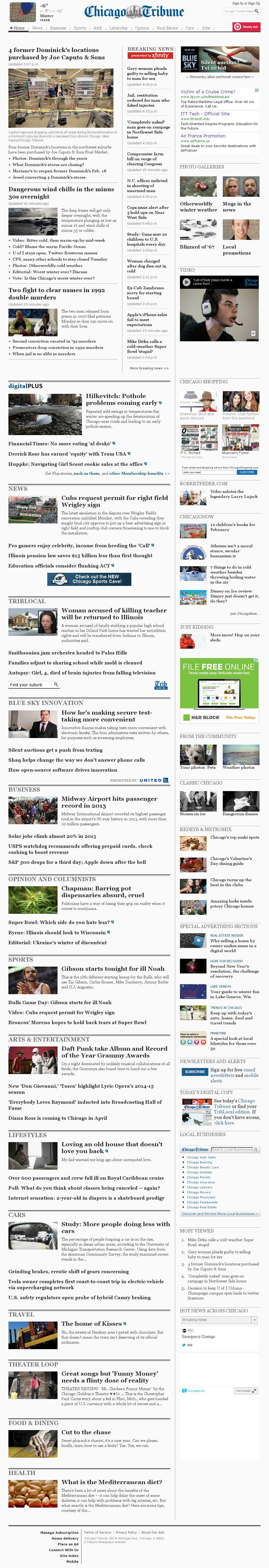 Chicago Tribune at Tuesday Jan. 28, 2014, 2:02 a.m. UTC