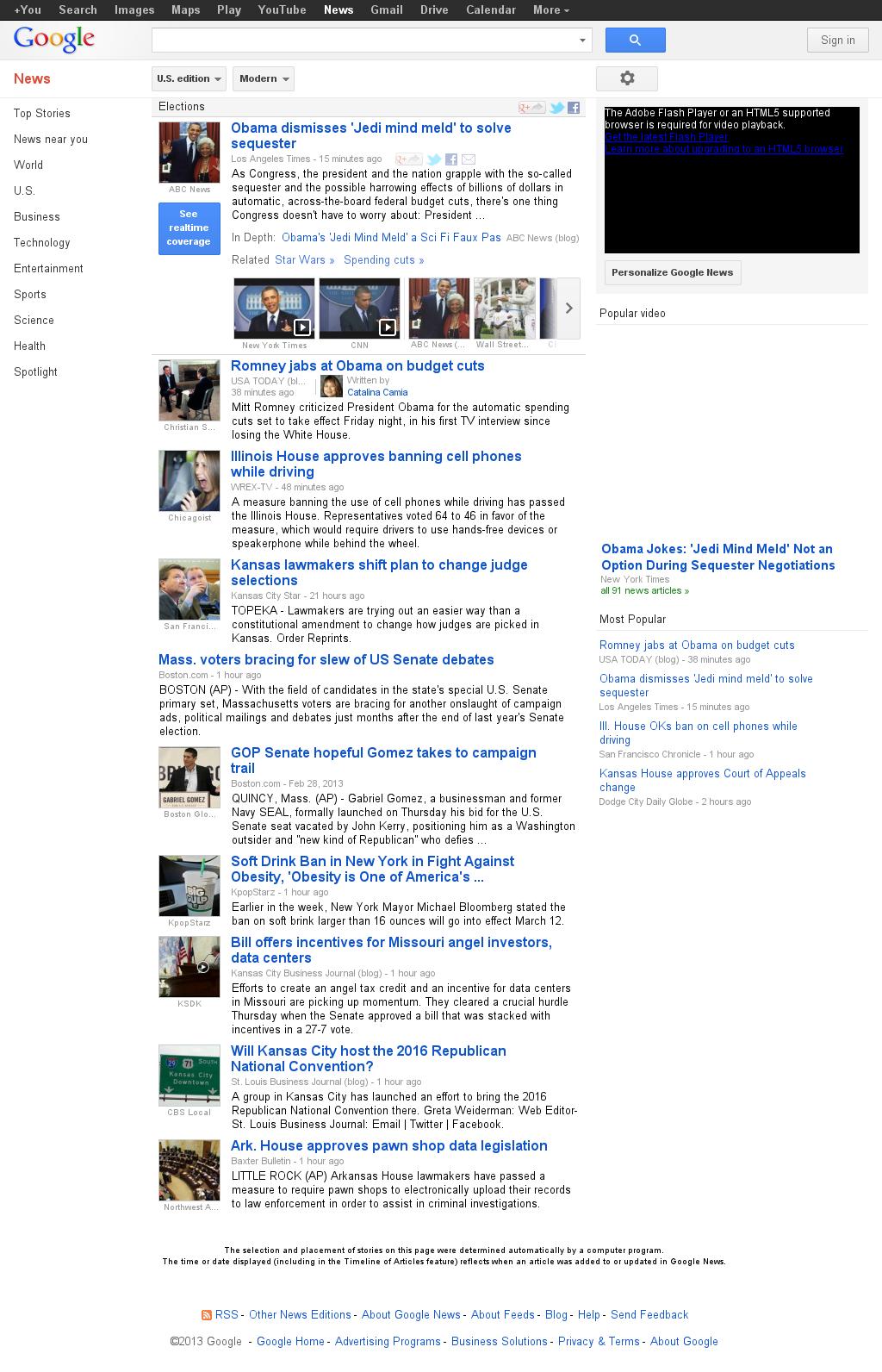 Google News: Elections at Friday March 1, 2013, 10:07 p.m. UTC