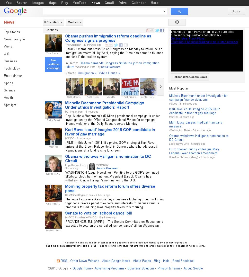 Google News: Elections at Monday March 25, 2013, 7:14 p.m. UTC