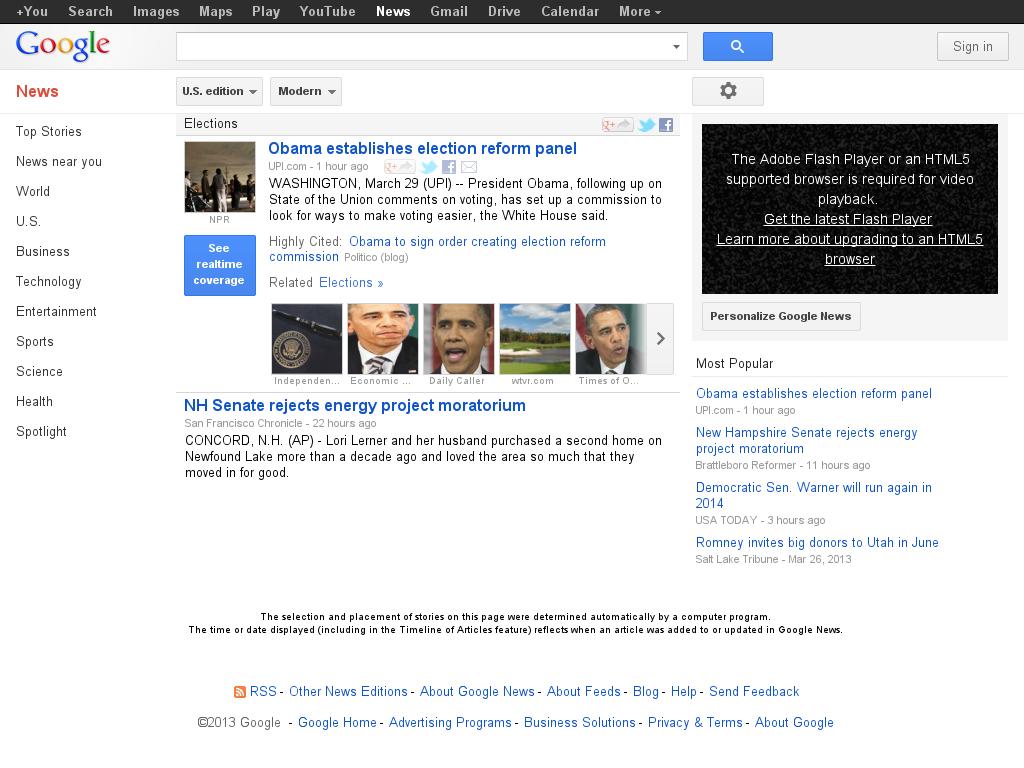 Google News: Elections at Friday March 29, 2013, 7:07 p.m. UTC