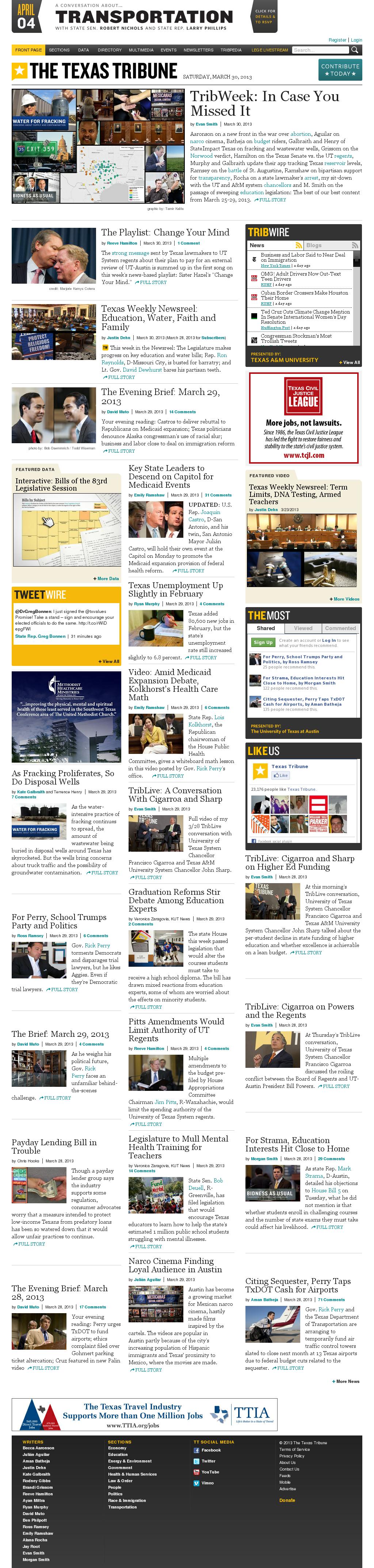 The Texas Tribune at Sunday March 31, 2013, 12:22 a.m. UTC