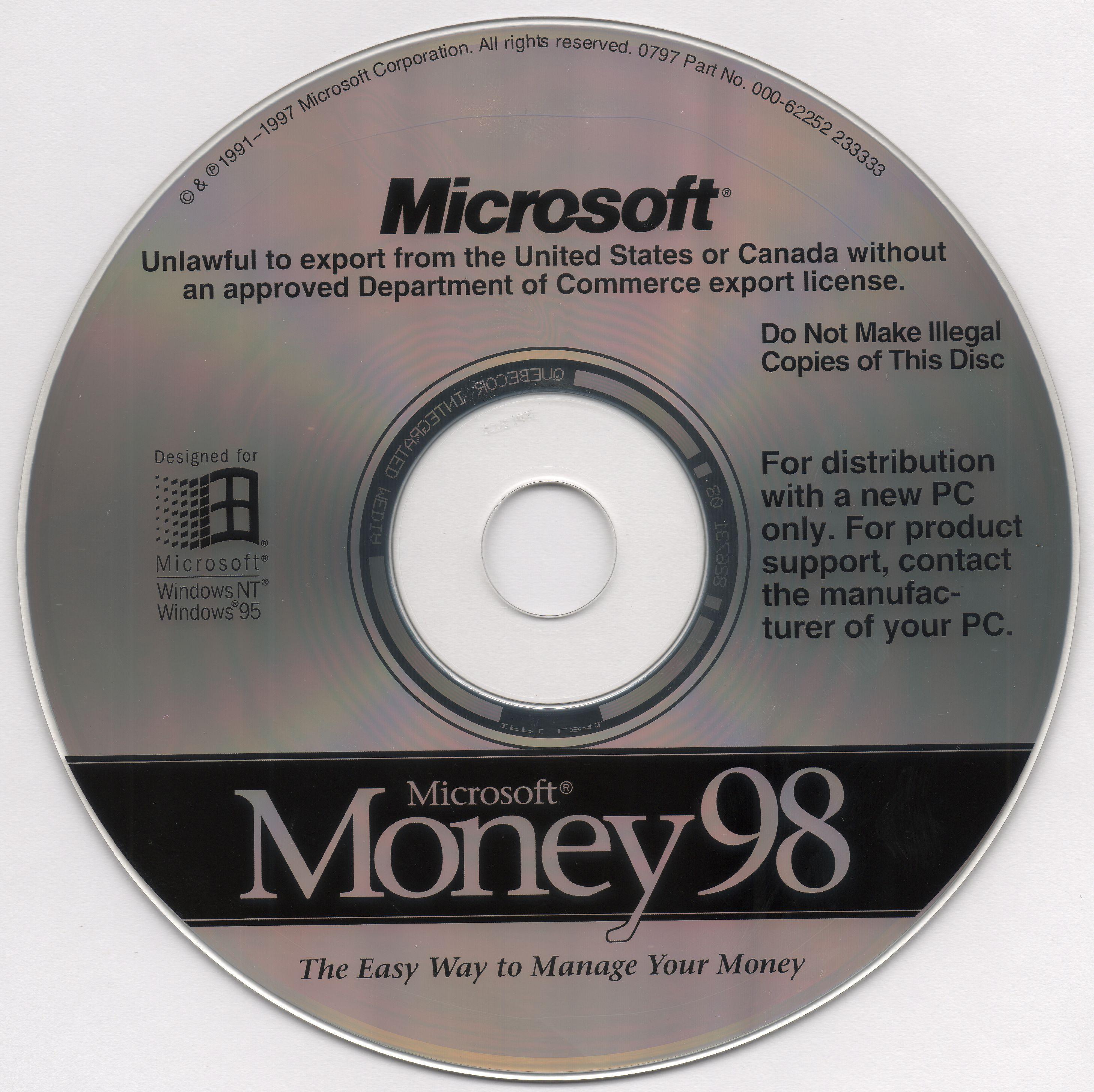 Microsoft Money '98 (1997) English OEM : Microsoft ...