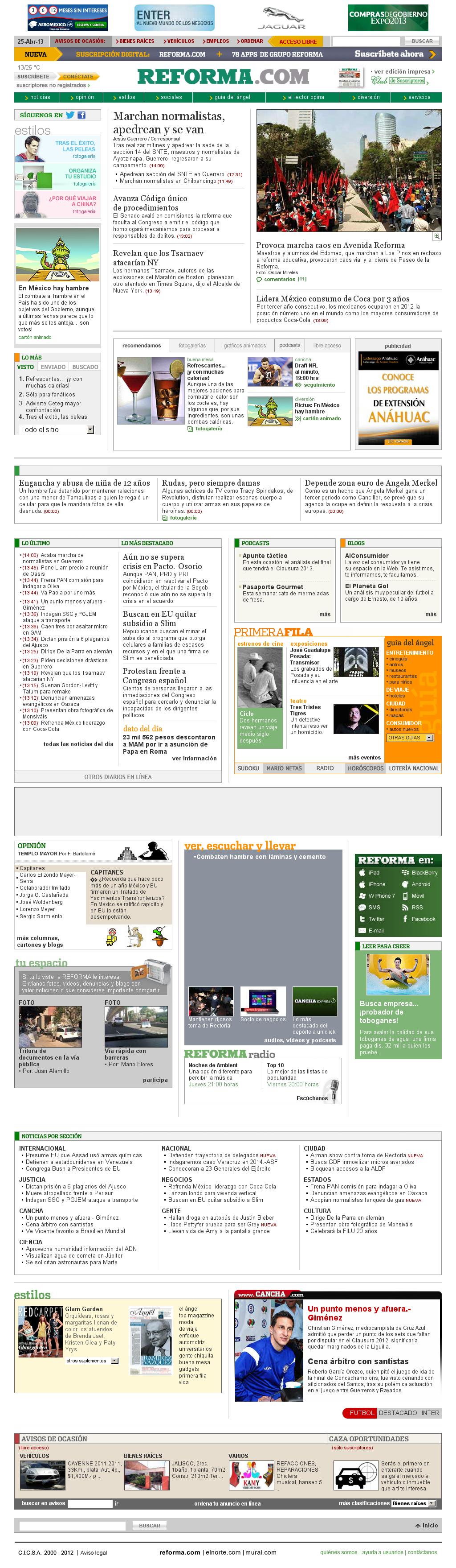 Reforma.com at Thursday April 25, 2013, 7:26 p.m. UTC